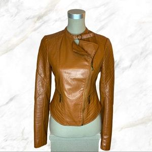 Wet Seal   Brown Faux-Leather Jacket